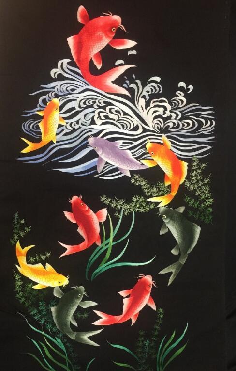 9幅手绣双面绣片-鱼