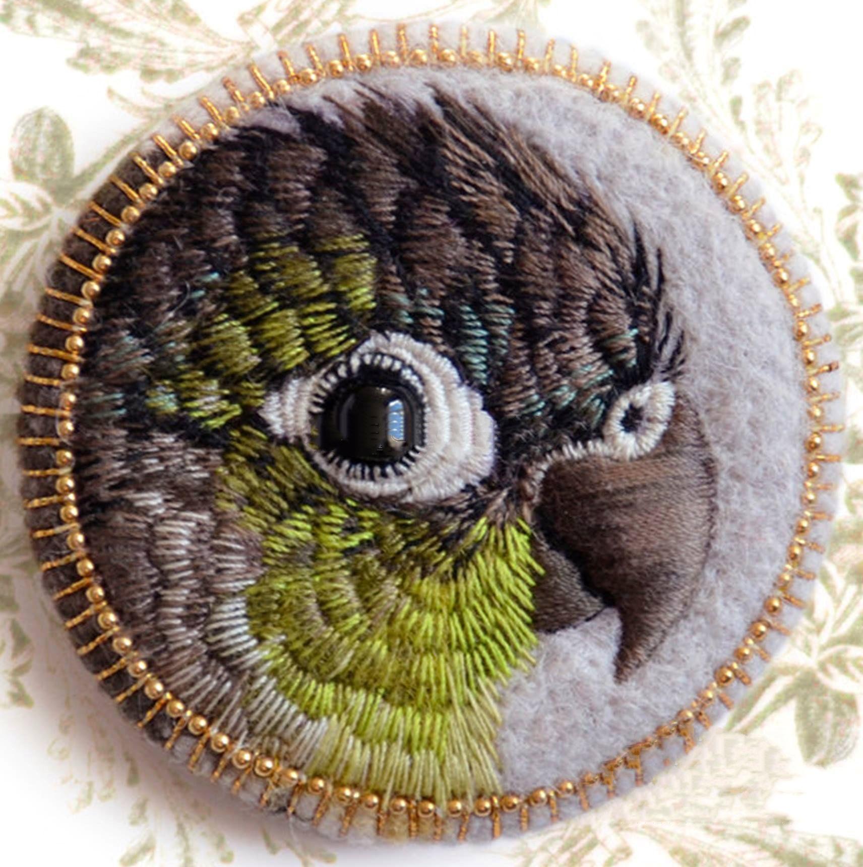 鹦鹉鸟绣花图案