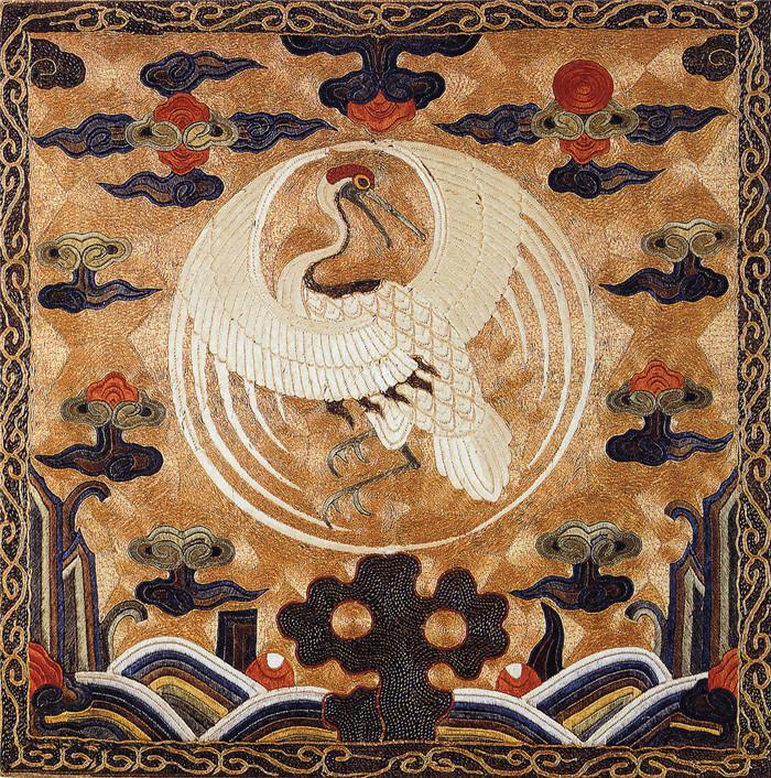 仙鹤刺绣图案