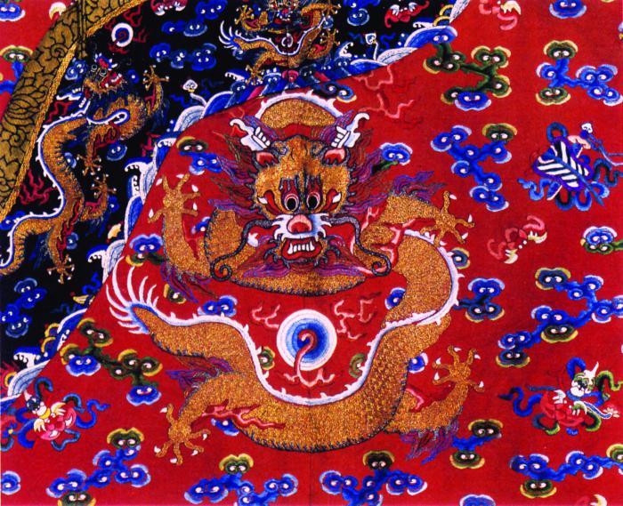 传统龙纹刺绣图案3套