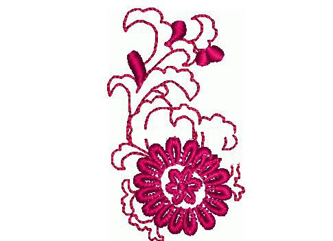 粉色花朵绣花图案2819针
